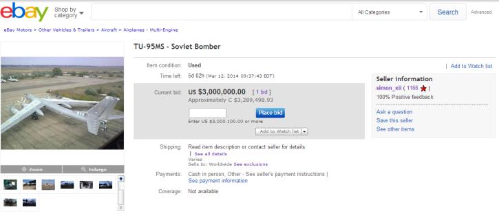 На eBay выставлен на продажу стратегический бомбардировщик, базирующийся в Украине