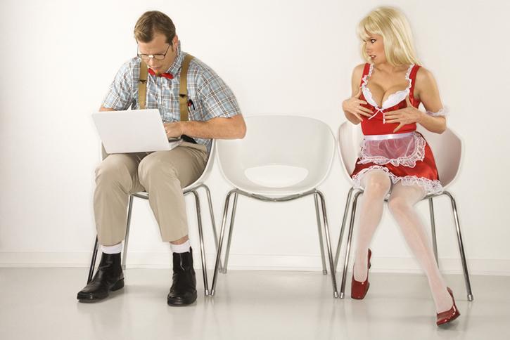 Woman flirting with man.
