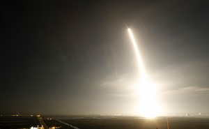 The unmanned Falcon 9 rocket launched by SpaceX, on a cargo resupply service mission to the International Space Station, is shown in this time exposure as it lifts off from the Cape Canaveral Air Force Station in Cape Canavera