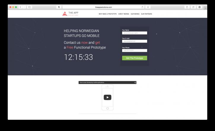 Посадочная страница The App Solutions, нацеленная на Норвегию