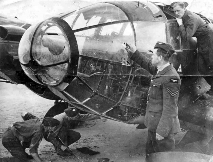 Bullet holes in the cockpit of a Heinkel He 111