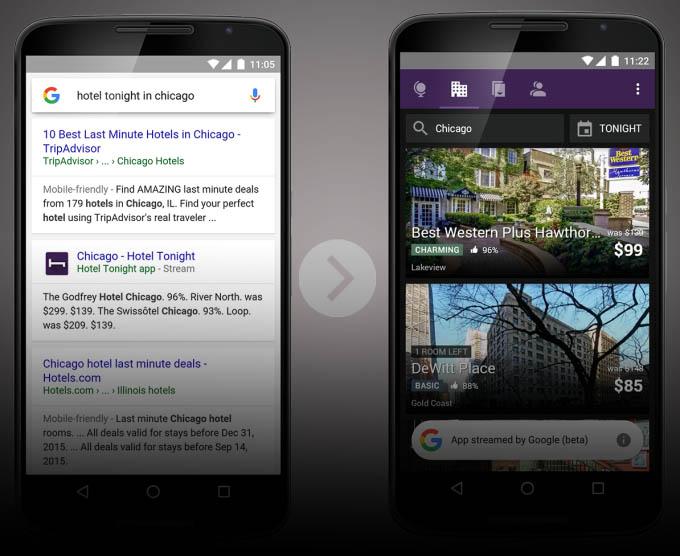 Google позволит запускать мобильные приложения прямо из поиска, без установки