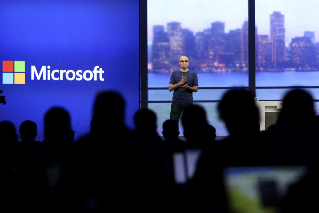 """Microsoft CEO Satya Nadella speaks during his keynote address at the company's """"build"""" conference in San Francisco"""
