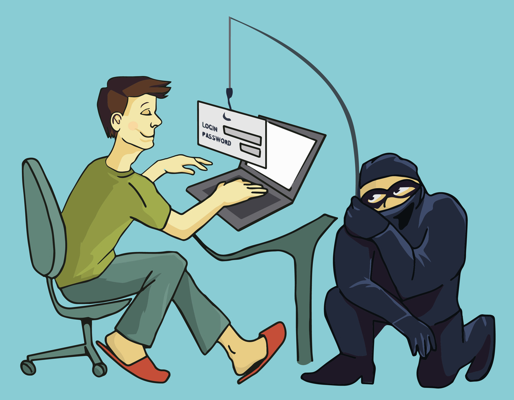 Computer Crime concept. Internet Phishing a login and password concept