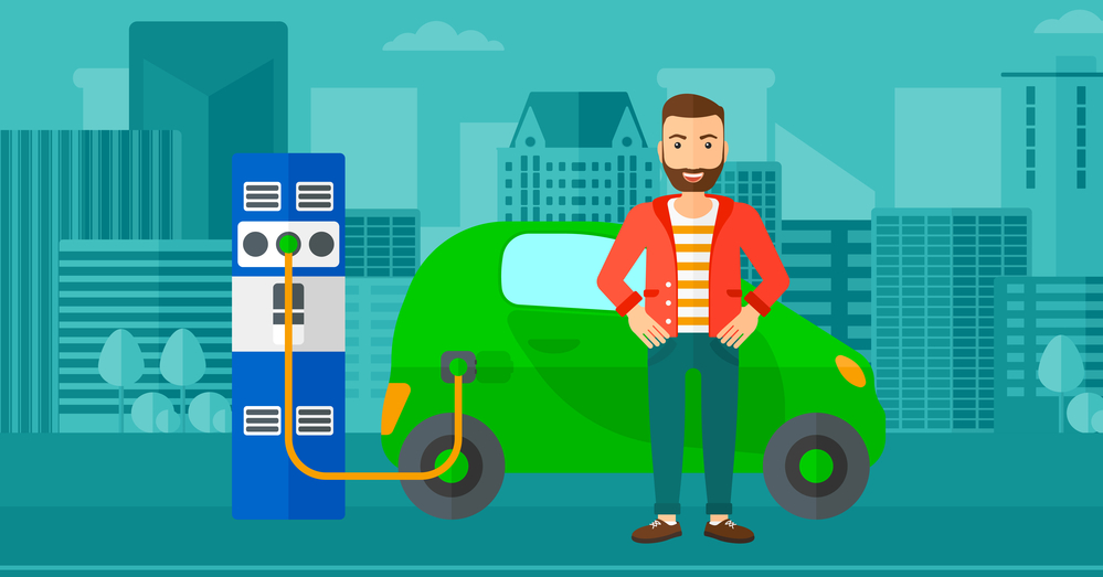 A hipster man with the beard charging his electric car on a city background vector flat design illustration. Horizontal layout.