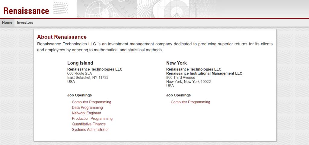 Веб-сайт Renaissance Technologies